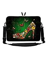 Meffort Inc 17 17.3 inch Neoprene Laptop Sleeve Bag Carrying Case with Hidden Handle and Adjustable Shoulder Strap - Green Butterfly Heel