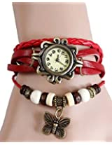 Elegant Red Leather Vintage Butterfly Bracelet Watch
