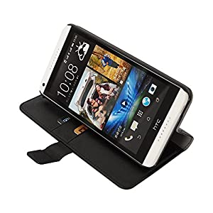 Cubix Leather wallet book style Case cover stand for HTC desire 816 (Black)