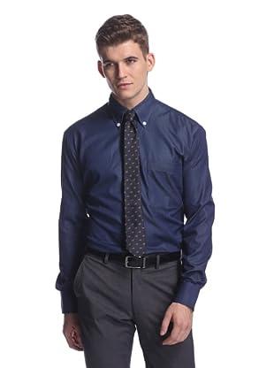 Oxxford Men's Sport Shirt with Button-Down Collar (Navy)