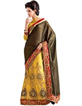 Manvaa yellow and black georgette embroidered casual saree