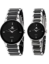 IIK Collection Pair of Round Black Dial Men's Watch & Black Dial Women's Watch IIk021M-1001W