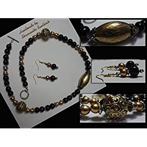 B Jeweled Black And Gold Necklace