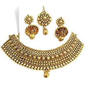 Shingar jewellery antique gold plated polki kundan look necklace set for women (5434-as-a)