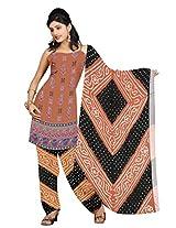 Kala Sanskruti Bandhani Cotton Satin Brown Dress Material