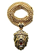 "Rappers' Iced Out Lion Head Pendant with 6mm 36"" Cuban Link Chain Necklace - Yellow/Gold-Tone"