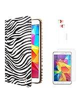 VG Zebra Print Mary Portfolio Multi Purpose Book Style Slim Flip Cover Case for Samsung Galaxy Tab4 T330/T331 8.0 (White) + White Earphones + Matte Screen