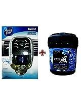 Car Perfume Ambi Pur 7ml Starter Kit & Kaze Air Freshener - Aqua&Love Opium