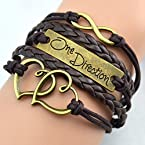1d ~ Twin Hearts + Infinity + One Direction Leather Bracelet ~ Brown