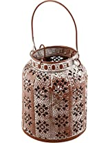 KRAFT N ROOM Metal Lantern (Brown, 16 cm x 13 cm x 16 cm)