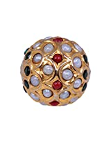 Gehna Jaipur 16MM Pearl, Emerald & Ruby Stone Studded Jadau Bead In 925 Sterling Silver for Men and Women