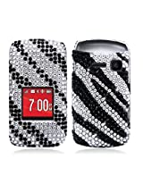 Aimo KYOS2150PCLDI652 Dazzling Diamond Bling Case for Kyocera Kona S2150 - Retail Packaging - Zebra Black White