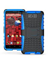 JKase DIABLO Series Tough Rugged Dual Layer Protection Case Cover with Build in Stand for Motorola Droid Ultra XT1080M - Blue