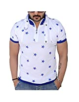 Black Collection Men's Half-Zip Cotton T-Shirt (BCSA0001_White & Blue_Medium)