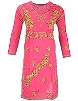 PR Chikans Women's Cotton Kurti (Pink, Large)