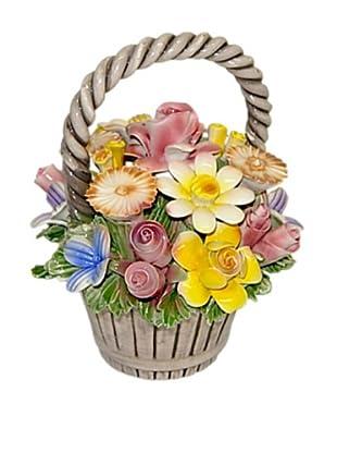 Italian Capodimonte Hand-Made Ceramic Flower Basket With Handle