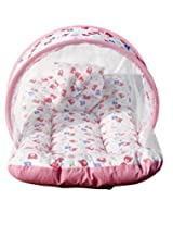(SUMMER SPECIAL OFFER) Firststep pink mosquito net bed (size-32*18), Baby cotton blanket pack of 3 pcs (size-31*27), Baby plastic sheet with 1 side cotton pack of 3 pcs
