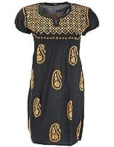 PR Chikans Women's Cotton Kurti (Black, Medium)