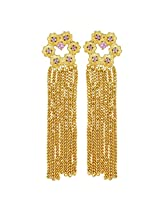 Gehnamart Yellow Gold Plated Ruby Drop Earring