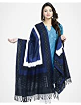 Cotton Ikat Woven 4 Dots Dupatta-Blue/White