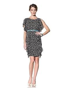 Donna Morgan Women's Side Flounce Dress (Black Moon)