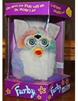 1999 Lavender Furby White Tummy & Mane with Pastel Body and Blue Eyes
