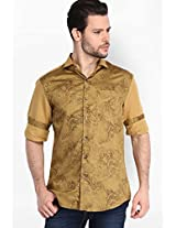 Printed Khaki Casual Shirt Locomotive