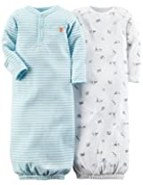 Carter's Baby Boys' 2 Pack Print Gowns (Baby) - Light Blue - Preemie