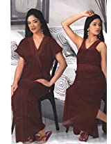 Indiatrendzs Women's Sexy Hot Nighty Maroon 2pc Set Silk Satin Evening Wear Dress-Freesize