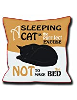 """Dog SnorZ """"A Sleeping Cat is Excuse for Unmade Bed"""" Throw Pillow"""