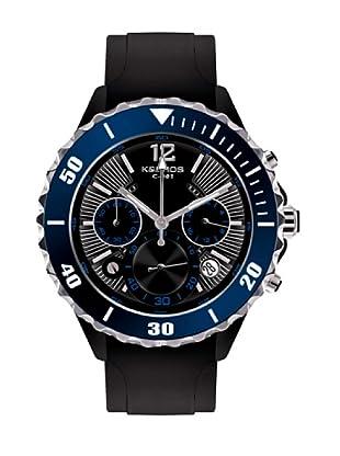 K&BROS 9174-3 / Reloj de Caballero  con correa de caucho Negro / Azul