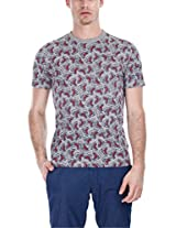 Zobello Men's Holiday Inspired Printed Crew Tee (21062D_Heather Grey Blush Shark Print_XX-Large)