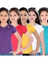 Sini Mini Cotton Baby Girl Tees (Sm300861491 Xxl -Purple-Rpink-Gyellow-White-Tblue -10 to 11 Years) , 5 Pcs