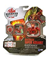 Bakugan Super Assault Single Figure Pyrus Nova 12 Red BakuChance Includes Clear Die! Dice Thrower!