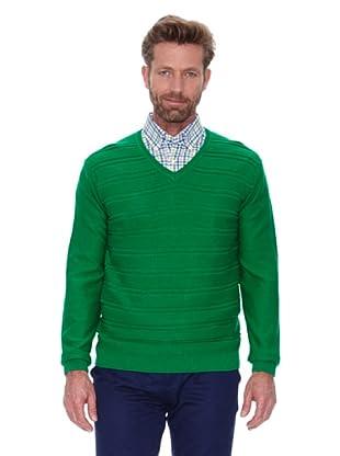 Cortefiel Jersey Cuello Pico Listado (Verde)