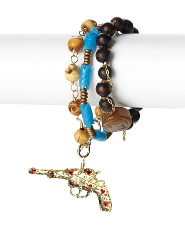 Mercedes Salazar Gun Charm Bracelet Set, Turquoise
