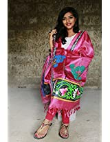 Chanchal Hand Painted Pattachitra Pink color Tassar-Tassar Dupatta