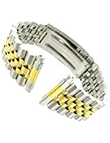 16-22mm Kreisler Rolex Type Center Clasp Silver and Gold Tone Metal Watch Band