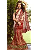 Ivory and Red Wedding Lehenga-Sari with All-Over Metallic Thread Embroidery a...