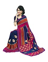 Faux Georgette Saree in Blue Colour for Casual Wear