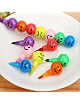 Set of Cute Colorful and Fun Smiley Face Emoticon Stacking Pencil and Stacking Crayons