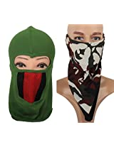 Jstarmart Green Helmet Face Mask ombo Headwrap