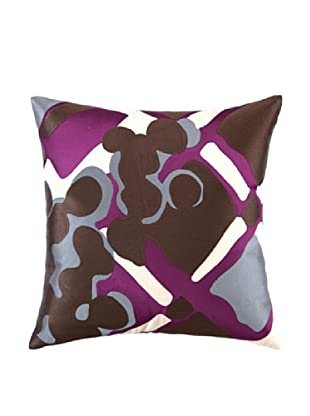 Trina Turk Painterly Plaid Embroidery Linen Pillow (Purple)