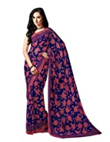 Blue Pink Color Georgette Printed Saree with Blouse 7018