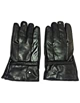 Graceway Unisex Leather Bike Gloves (5G34, Black)