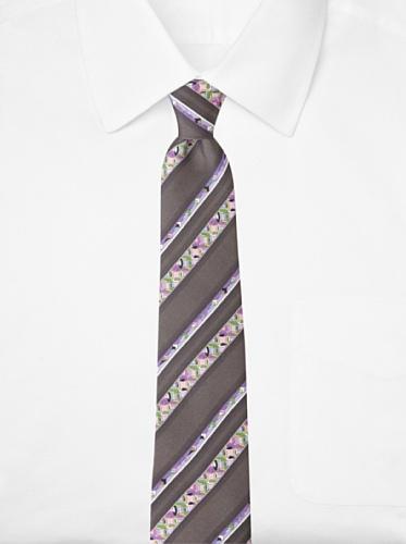 Emilio Pucci Men's Pinwheel Stripe Tie, Dark Grey/Lavender