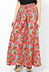 Green Base Color Crepe Floral Print Smart Palazzo Pants