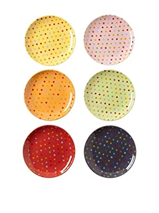Classic Coffee & Tea Set of 6 Polka-Dot Dessert Plates