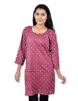 Kala Sanskruti Women's Cotton Silk Maroon Kurti