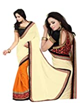 Zoom Beautiful Beige Georgette with Stunny Sleeve work Saree